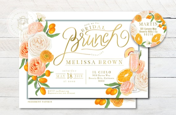 Brunch & Bubbly Invitation - Oranges invitation - Bridal Shower Invitation - Mimosa invitation - Orange grove invitation - Orange Shower