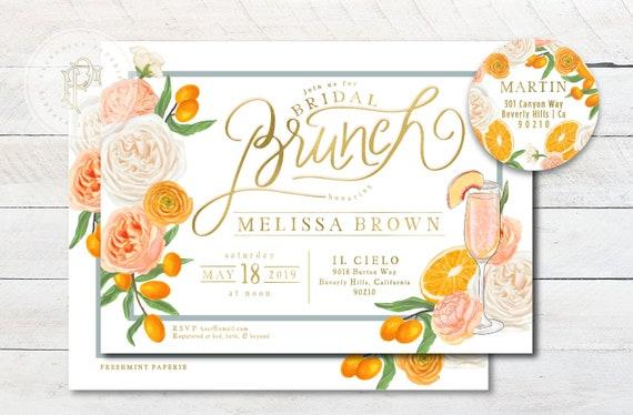 Brunch & Bubbly Invitation - Oranges invitation - Bridal Shower Invitation - Mimosa invitation - Orange grove invitation - Orange Shower