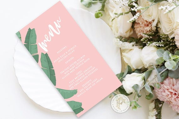 banana leaf menu cards - Custom menu cards - Palm leaf Menu  - Beverly hills hotel menu - Freshmint Paperie