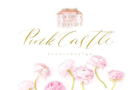 pink castle logo - logo design - calligraphy logo - pretty logo - handwritten logo - gold logo -  freshmint paperie