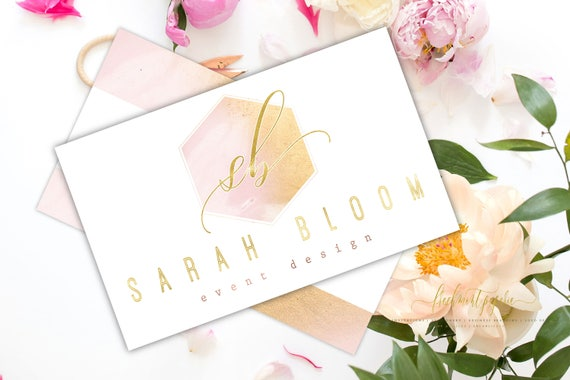 Pretty logo - watercolor logo - blush logo - calligraphy logo - watercolor logo - marbled logo - freshmint paperie