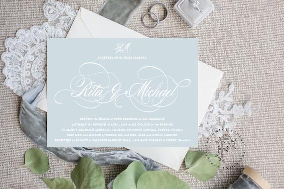 Classic Wedding Invitation | Wedding invitation | Calligraphy Wedding Invitation | Calligraphy invitation | French Blue invitation