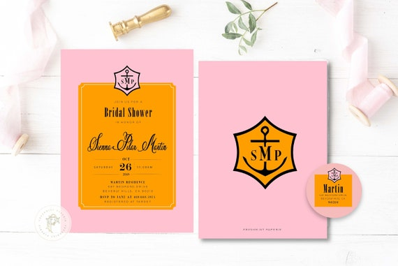 Champagne invitation - bridal shower invitation - pink & orange invitation - Champagne - Brunch Invitation