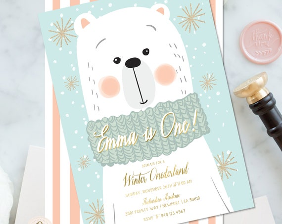 Winter ONEderland invitation | winter wonderland invitation | Polar Bear invitation | first Birthday | Winter Onederland Birthday invitation