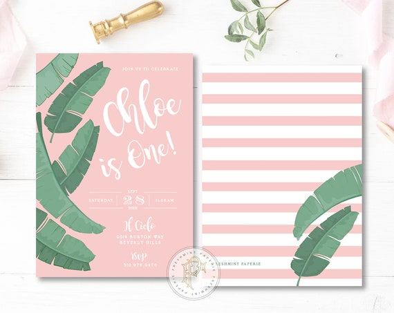 Palm Leaves invitation - Beverly Hills Hotel Birthday invitation - banana Leaf invitation - Tropical Birthday Invitation - Palm Leaves Pink