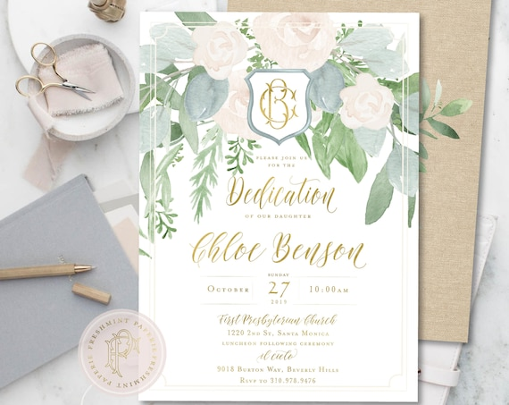 Dedication invitations, baptism, christening, white floral dedication neutral invitation, religious, greenery invitation, digital or printed