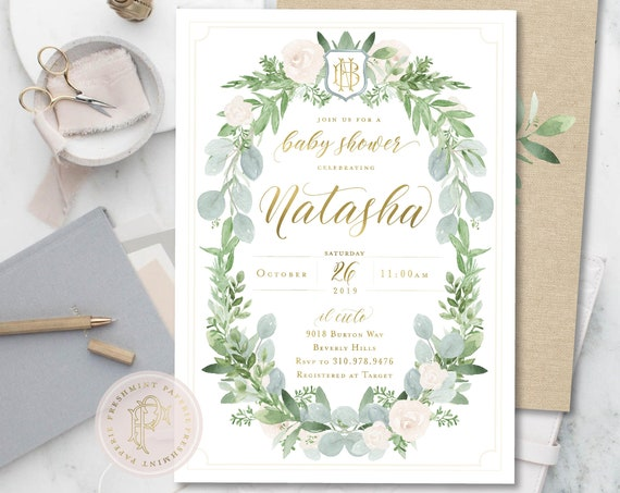 Baby Shower Invitation Neutral, Floral Baby Shower Invitation, Neutral Baby Shower Invitation, White Greenery, Boho Baby, Eucalyptus