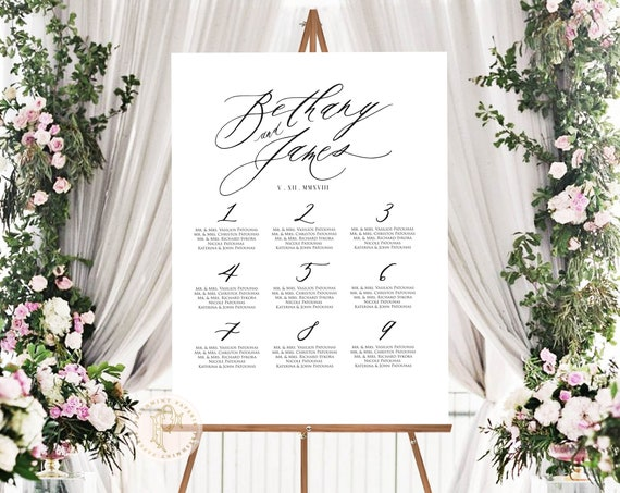 Seating Chart  | Calligraphy Seating Chart | Guest Chart | Wedding Seating Chart | Wedding Stationery