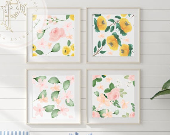 Watercolor floral wall art, Watercolor wall art, nursery wall art, Flower wall art, Kids room wall art, Flower Wall Art, Painted