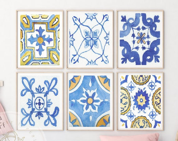 Mediterranean Tile wall art, Mediterranean wall art, nursery wall art, Blue Mediterranean  wall art, Kids room wall art, Mediterranean Tiles