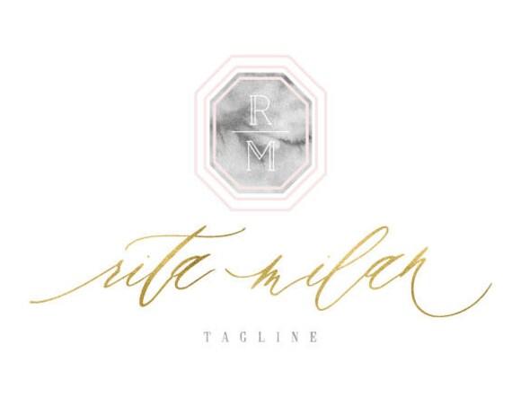 modern logo | modern script logo | calligraphy logo | pretty logo | blush pink logo | marble logo |  freshmint paperie
