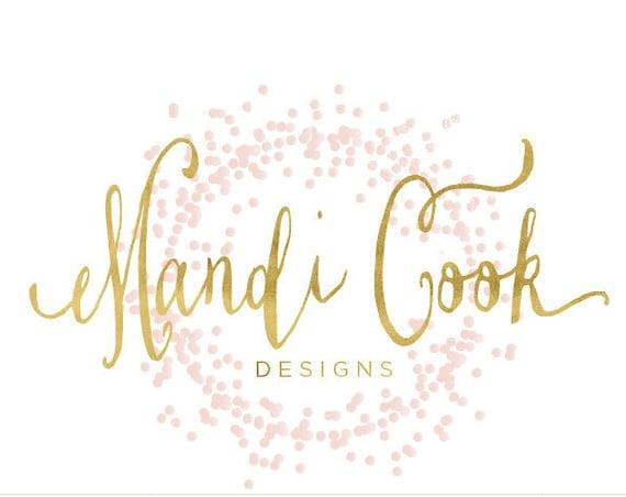 confetti logo design - pretty logo - calligraphy logo - gold confetti logo - pink confetti logo