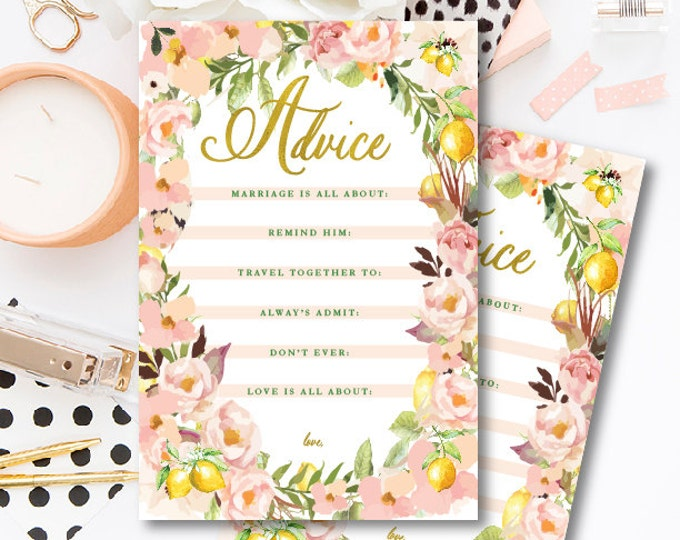 Advice card - Mad libs - Bridal game card - freshmint paperie