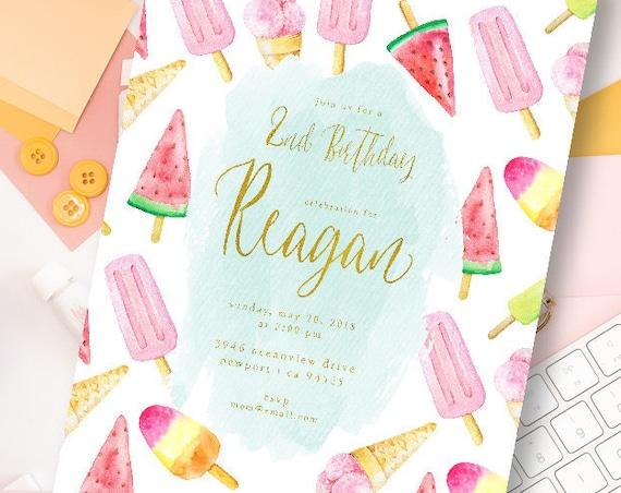 Watermelon invitation - Watermelon Birthday Invitation - Ice Cream Invitation - Watermelon Party invite - Ice Cream Party - 1st birthday
