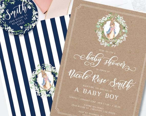 bunny invitations - rabbit invitation - baby shower invitation - watercolor invitation - kraft invitation - freshmint paperie