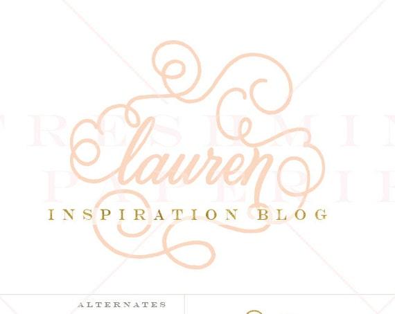 flourish logo - swirly lettering design - logo design - calligraphy style logo - freshmint paperie