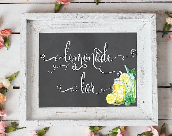 Calligraphy lemonade bar sign - lemonade bar - lemonade chalk sign - freshmint paperie