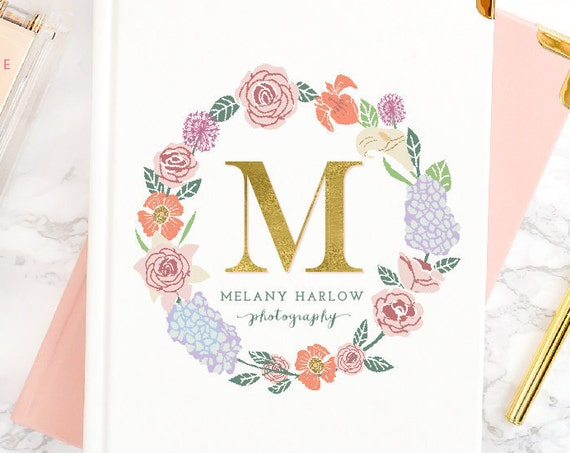 floral logo design - monogram logo - calligraphy logo - flower logo - watercolor logo - handwritten logo - initial logo - freshmint paperie