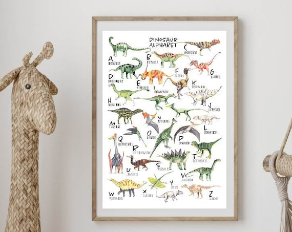 Dinosaur Alphabet wall art, Dinosaur wall art, Nursery wall art, Alphabet, Kids room wall art, Baby shower gift, Dinosaur