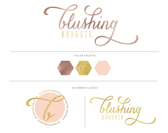 handlettered logo -  logo design  - calligraphy logo - rose gold logo - watercolor logo- business branding - pretty logo - freshmint paperie