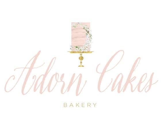 Cake logo | bakery logo | naked cake | watercolor logo | pretty logo | modern script logo | logo design