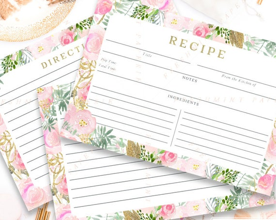 Printable recipe cards - FLORAL RECIPE CARDS - recipe card - Bridal Shower - Freshmint Paperie