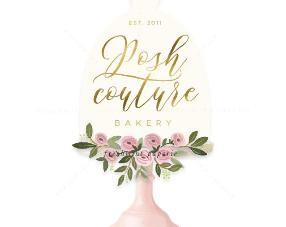 watercolor logo - logo design - calligraphy logo - logo - bakery logo - floral logo -  freshmint paperie