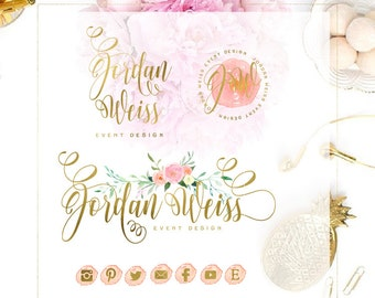 pretty logo design - watercolor floral logo - calligraphy logo - blush pink logo - watercolor logo - handwritten logo - freshmint paperie