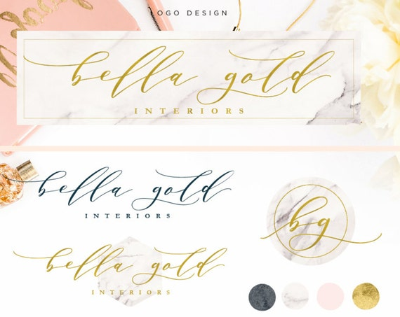 Pre-made logo design - calligraphy logo - marble logo - metallic gold logo design - typography logo -  freshmint paperie