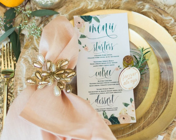 Printable menu cards - Custom menu - calligraphy Menu  - floral menu - watercolor menu - Freshmint Paperie