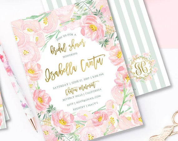 floral invitation - flower invitation - bridal shower invitation - watercolor floral invitation - baby shower - freshmint paperie - 1202
