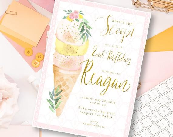 Ice Cream invitation - Ice Cream Birthday Invitation - Ice Cream Party Invitation - Ice Cream Party invite - First Birthday - 1st birthday