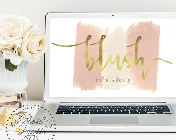 Pretty logo - brush strokes logo - calligraphy logo - logo - makeup artist logo - blush pink logo -  freshmint paperie