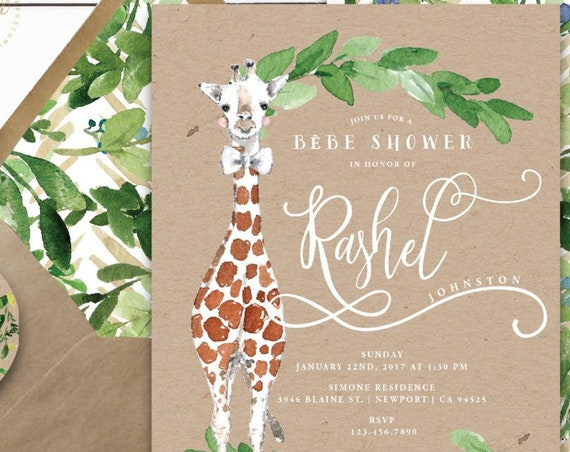 Giraffe invitations - safari invitation - baby shower invitation - watercolor invitation - kraft invitation - freshmint paperie