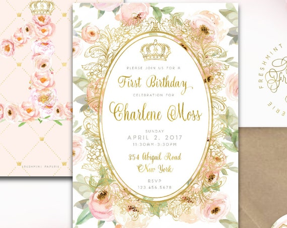 blush floral invitation - first birthday invitation - floral invitation - laduree inspired invitation - freshmint paperie