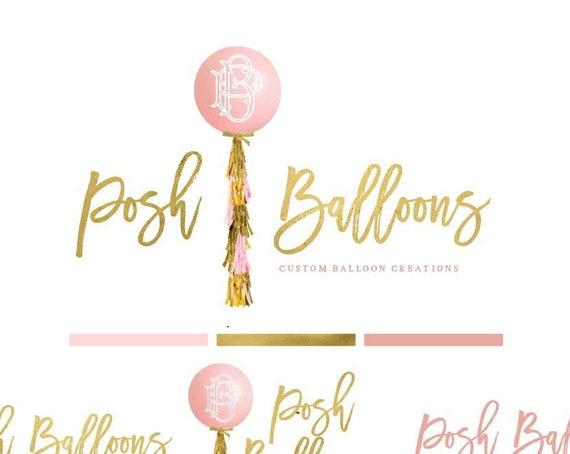 Balloon logo - logo design - calligraphy logo - logo - childrens logo - custom balloon logo - freshmint paperie