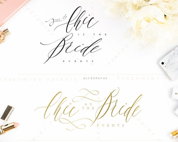 chic logo design - calligraphy logo design - modern logo design - handwritten logo - calligraphy logo -  freshmint paperie