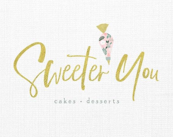 Bakery logo - cake logo  - dessert logo - watercolor logo - bakery shop logo - utensil logo - Watercolor logo - bakery logo design