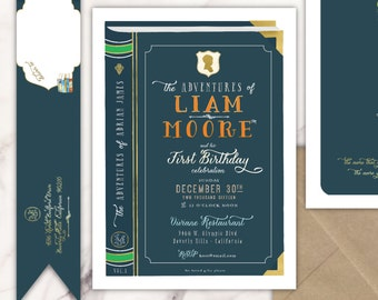 Storybook invitation | library invitation | first birthday invitation | adventure invitation | boys invitation | book invite | storybook