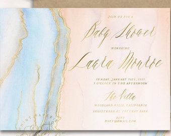 agate invitation - geode invitation - baby shower invitation - watercolor invitation - baby shower - watercolor - freshmint paperie
