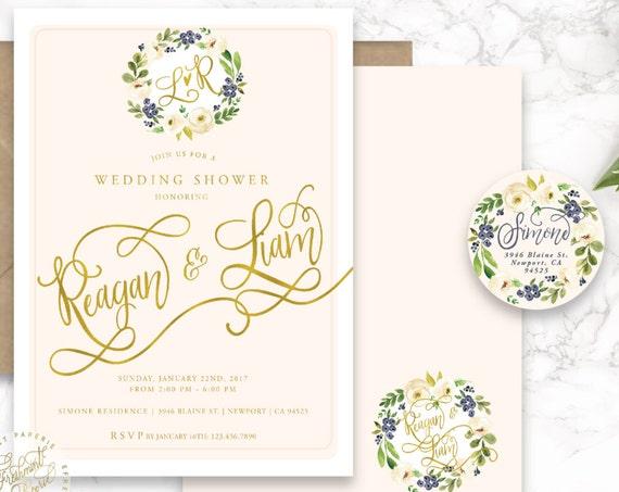 Printable invitations - typography invitation - wedding shower - watercolor invitation - freshmint paperie
