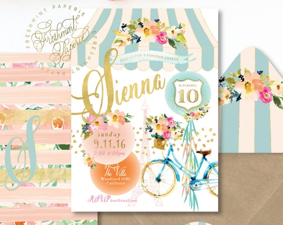 PARISIAN invitation - floral invitation - BIRTHDAY invitation - watercolor invitation - PARIS - freshmint paperie