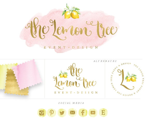 handlettered logo -  logo design  - calligraphy logo - gold logo - pink watercolor logo- business branding - lemon logo - freshmint paperie