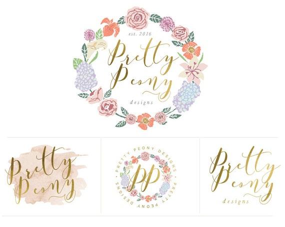 pretty logo design - peony logo - calligraphy logo - floral logo - watercolor logo - handwritten logo - freshmint paperie