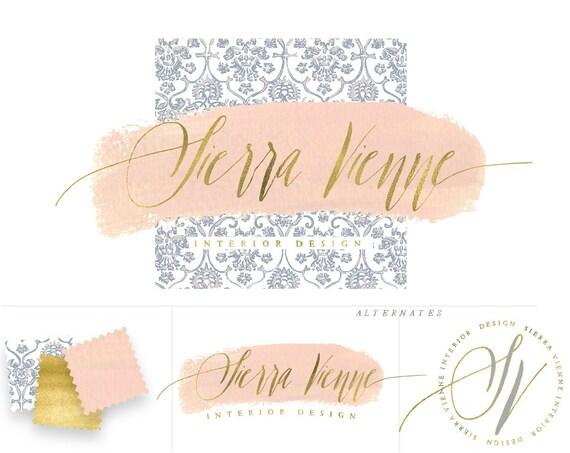handlettered logo -  logo design  - calligraphy logo - interior design - blue porcelein logo- business branding - freshmint paperie