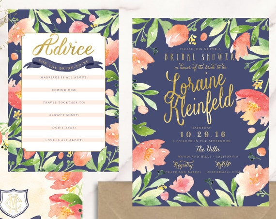 watercolor floral invitation - floral invitation - bridal shower invitation - navy floral invitation - freshmint paperie