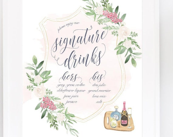 Wedding Drink Menu · Specialty Drink Menu Sign for wedding · Signature Drinks in calligraphy · Custom wedding stationery · Bar sign