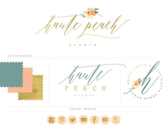 handlettered logo -  logo design  - calligraphy logo - gold logo - watercolor logo- business branding - pretty logo - freshmint paperie