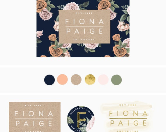 logo design - floral background logo - handwritten logo - modern calligraphy logo - floral logo - freshmint paperie