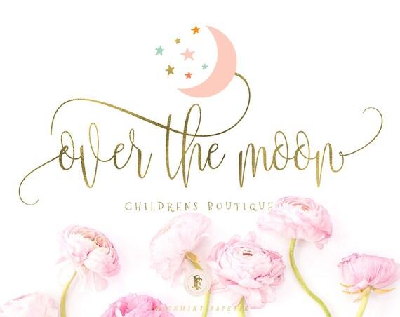 modern script logo | moon logo | calligraphy logo | pretty logo | blush pink logo | childrens boutique logo - freshmint paperie